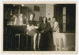 Ida Johnson and two friends gather by a bar in The Hague ...