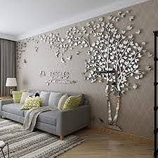 Amazon Com 3d Huge Couple Tree Diy Wall Stickers Crystal Acrylic Wall Decals Wall Murals Nursery Living Room Bedroom Tv Background Home Decorations Arts Silver Right L Arts Crafts Sewing