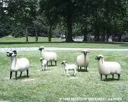 sheep statues for the garden long shot