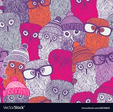 pink owls in funny doodle vector image