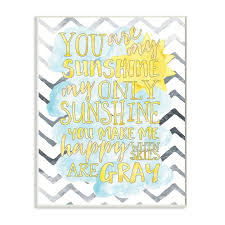 Shop The Kids Room By Stupell You Are My Sunshine Watercolors Chevron Wood Wall Art 13 X 19 Proudly Made In Usa 13 X 19 Overstock 30337375