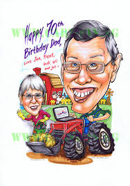 happy 70th birthday caricature gift