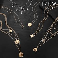 17km boho gold necklaces pendants