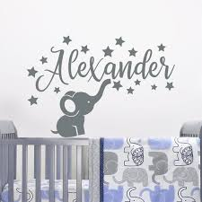 Name Wall Decal Baby Elephant Decal Boy Name Wall Decal Etsy In 2020 Elephant Wall Decals Elephant Decal Elephant Stickers