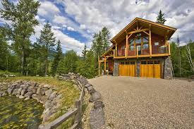 Vancouver Split Rail Fence Rustic Exterior Exposed Beams Fieldstone Gravel Driveway Permeable Paving Post And Beam Red Siding Roof Trusses