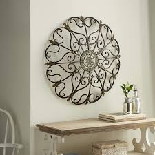 Amazon Com Vintage Style Round Copper Metal Wall Decor W Fleur De Lis Accents Copper And Gold Metal Wall Art Fleur De Lis And Quatrefoil 3d Wall Art 29 Home Kitchen