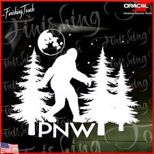 Pnw Sticker Big Foot Forest Decal Pine Trees Graphic Rv Camper Etsy
