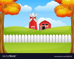 Cartoon Farm Landscape With Windmill And Barn Vector Image