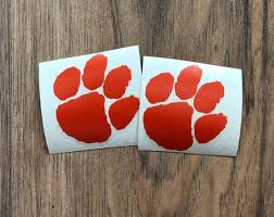 Free Shipping Clemson Paw Car Decal Clemson Decal Clemson Etsy