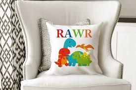 Dinosaur Throw Pillow Dinosaur Nursery Decor Dinosaur Kids Room Decor Sweet Blooms Decor