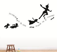 Popular Items For Decal Silhouette On Etsy Peter Pan Silhouette Peter Pan Shadow Peter Pan Flying