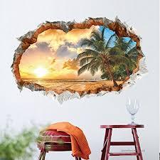 Bibitime Tropical Ocean 3d Beach Wall Stickers Sunshine Wall Art Mural Coconut Tree Vinyl Nursery Decor