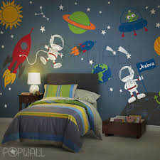 Rocket Ship Wall Decal Space Boy Star Planets Children Wall Decals Ebay