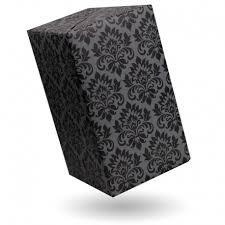 gift wrap damask black on grey