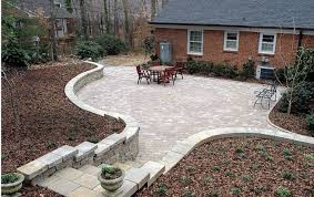a concrete paver patio from the bottom