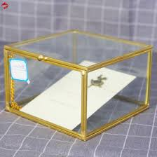 geometric cube glass ring box with lid