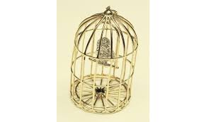 14k two tone gold bird cage pendant