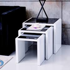 high gloss white nest of 3 coffee table
