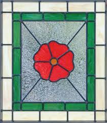 red flower custom stained leaded glass