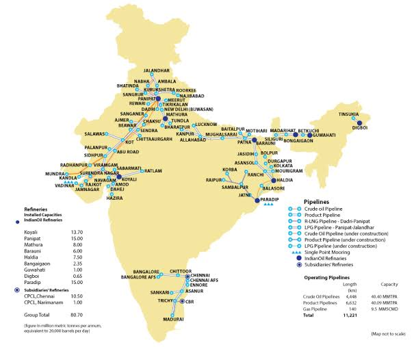 oil refinery in india map