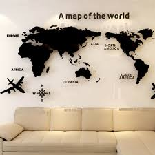 Map Of The World 3d Crystal Removable Acrylic Wall Stickers Home Decor 80 37 5cm For Sale Online Ebay