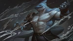 hd wallpaper shark trident warrior