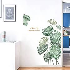 Amazon Com Green Tropical Leaves Wall Decal Nature Palm Tree Leaf Plants Wall Sticker Art Murals For Bedroom Living Room Classroom Offices Home Decoration Kitchen Dining