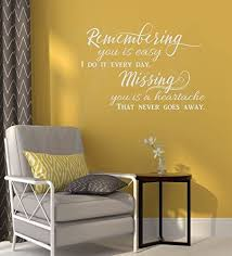 Amazon Com Remembering You Is Easy Vinyl Wall Decals Memorial Quotes 23x16 Inch Light Gray Home Kitchen
