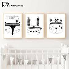 Tribe Bear Fox Head Wall Art Canvas Poster Black White Woodland Animal Nursery Print Painting Nordic Picture Kid Room Decoration Canvas Poster Posters Black Whiteprints Painting Aliexpress