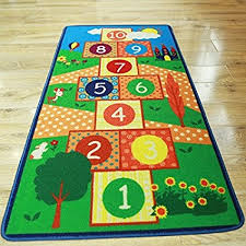 Hopscotch Kids Rug Bedroom Blue Boy Children Carpet Girls Bedroom Playroom Play Mat School Classroom Learning Carpet Kids Rug Wish