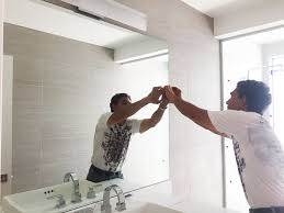 professional bathroom mirror install
