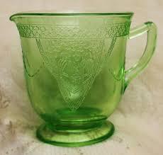 green depression glass creamer pitcher