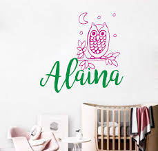 Personalized Name Owl On A Branch Wall Decal Sticker Nursery For Home Decor Krafmatics