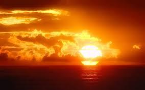 sunset sun ocean sky wallpaper