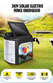 3km Solar Electric Fence Energiser 0 1 Joule Low Impedance Fence Charger Cattle Horses Crazy Sales