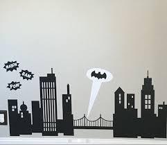 Personalized Batman Gotham City Decal For Bedroom Wall Batman Signal Searchlight Sticker Decal Pow Bam Batm Batman Kids Rooms Gotham City Skyline Batman Room