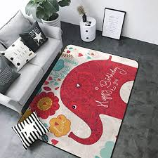 Amazon Com Luxury Modern Area Rug Red Elephant Print Extra Soft And Comfy Indoor Rugs Carpet For Living Room Kids Room Home Decor Carpet 4 X 6 Rug Kitchen Dining