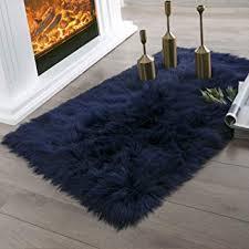 ashler faux fur navy blue rectangle
