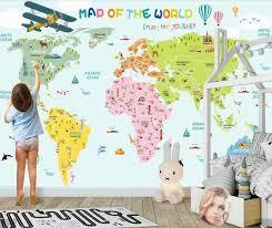Carton World Map Wallpaper Mural 3d Art Wall Decals Wall Paper Rolls For Kids Room Print Wallpaper Waterproof Canvas Custom Wallpapers Aliexpress