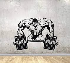 Amazon Com Sport Wall Decals For Gym Wall Decal For Home Decor Hulk With Barbell Decor Stickers Vinyl Stickers Murals Mk0280 W 30 H 22 Arts Crafts Sewing