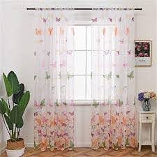 Amazon Com Butterfly Sheer Girls Kids Room Curtains 1 Panel Print Voile Window Curtain Treatments Colorful Butterfly Pattern Rod Pocket Window Curtains For Bedroom Living Room Nursery Room 106 Inch Length Kitchen