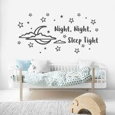 Stars And Moon Nursery Wall Art Good Night Sticker Removable Etsy