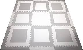 Amazon Com Softtiles Kids Playmat Geometric Squares Premium Interlocking Foam Kids Puzzle Mat Light Gray And White Large 2 Foam Tiles With Sloped Edges 6 5 X 6 5 Ft Scsqwh9 Furniture Decor