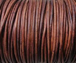 distressed round leather cord 2mm