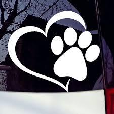 Pet Paw Print With Heart Dog Cat Vinyl Decal Car Window Bumper Sticker Wish