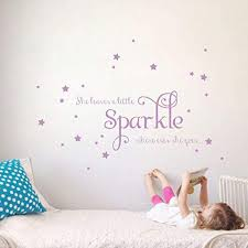 Amazon Com She Leaves A Little Sparkle Girls Room Vinyl Wall Decal Sticker Inspirational Quote With Stars Lilac 15x36 Inches Home Kitchen