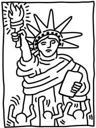Kids N Fun Kleurplaat Keith Haring Statue Of Liberty