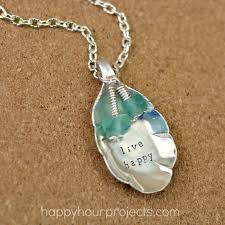 upcycled stamped spoon necklace happy