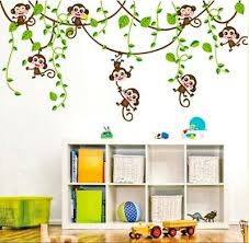 Vines Monkey Jungle Wall Decals Stickers Mural Childs Bedroom Nursery Easy 2 Use Ebay