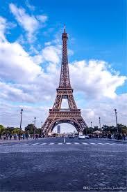 باريس برج ايفل التصوير الفوتوغرافي خلفية مطبوعة السماء الزرقاء